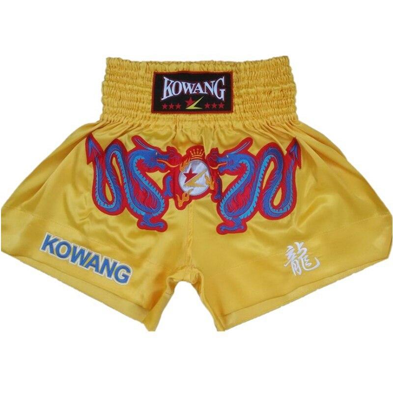 2018 Hot Adults Kids MMA Muay Thai Shorts Sanda Dragon Embroidery Satin Kick Boxing Short Pants