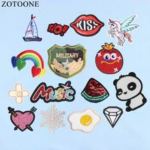 ZOTOONE 16Pcs Mix Reversible Sequin Letter Unicorn Patches Set Iron On Patch Kids Cute Embroidery For Clothes Applique D