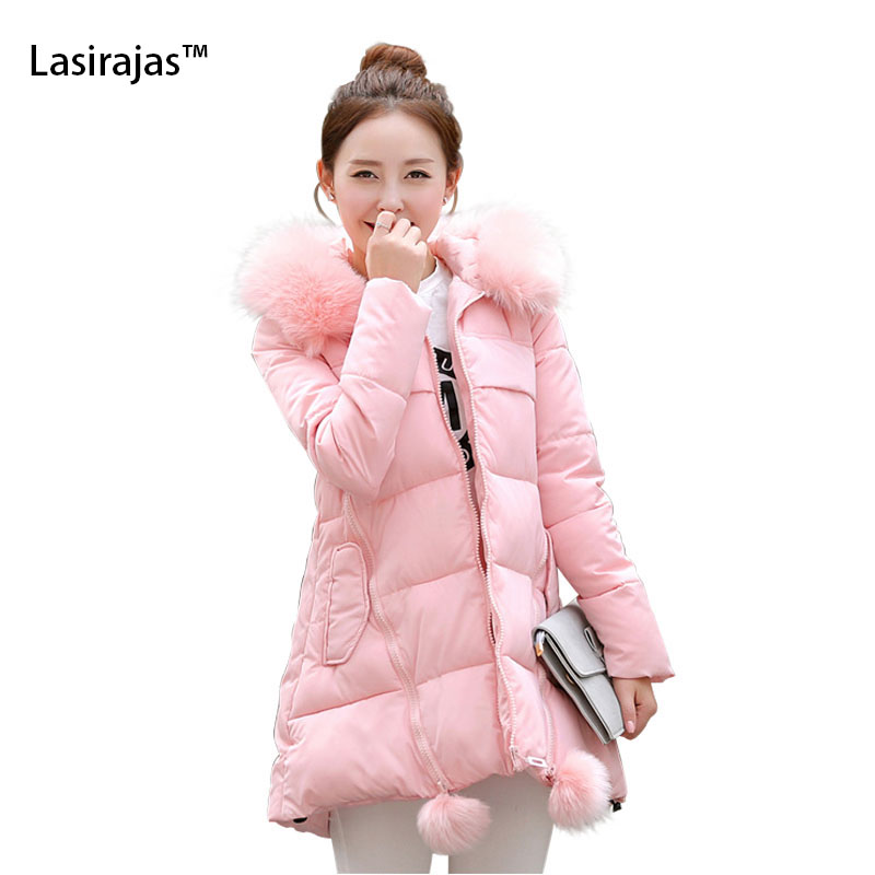 ФОТО 2016 Fashion Winter Jacket Women's Coat Faux Fur Collar Hooded Women's Down Parka Thick Zippers Jackets Warm Outwear Plus Size