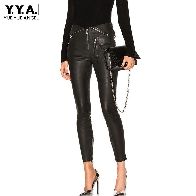 Femmes pliant taille PU lavé en cuir pantalon 2019 printemps Punk Skinny Legging crayon pantalon Zipper moto noir en cuir pantalon