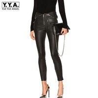 Women Folding Waist PU Washed Leather Pants 2019 Spring Punk Skinny Legging Pencil Pants Zipper Motocycle Black Leather Trousers