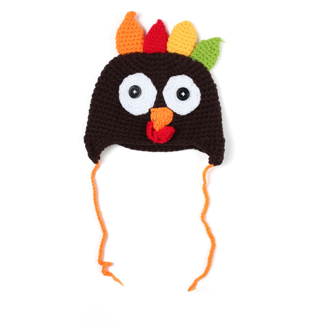 Unisex Kids Girls and Boys Crochet Knit Caps Babies Turkey Pattern ...