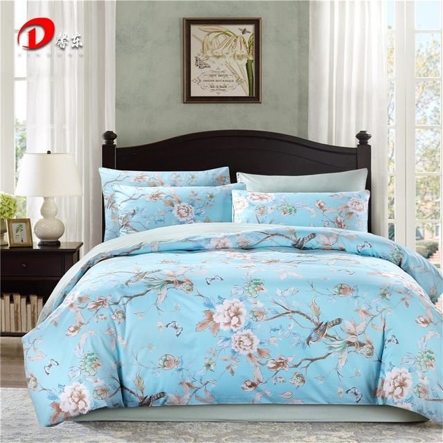Luxury Satin Bed Linen Egyptian Cotton Bedding Set King Queen Size High Quality Fl Bright Blue Duvet Cover Z1