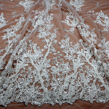 1yard New fashion style pink/black/off white/ivory heavy handmade beads on netting embroidery wedding dress lace fabric
