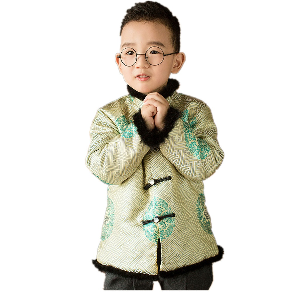 2019 Children Coat Fleece Tang Suit For Baby Boy China Dress Clothes Outfits Outerwear Boys Jacket Outfits Traditional Garments