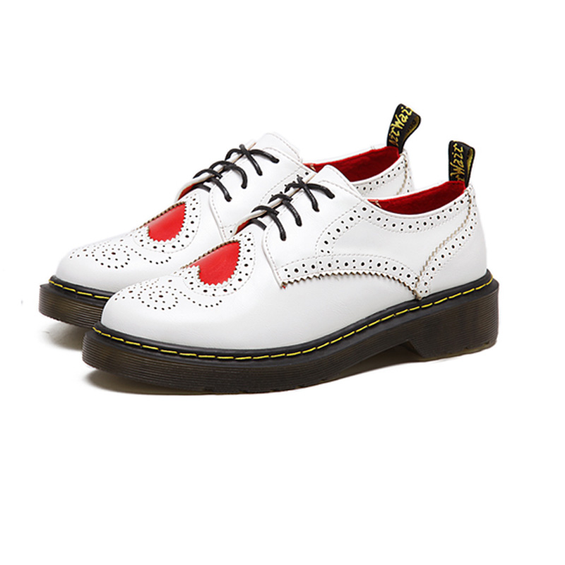 ФОТО POPULAR Vintage Flat Shoes Round Toe White Creepers Oxford Shoes Slip On Rubber Soles British Style Lace Up Women Casual Shoes