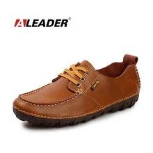 ALEADER Hombres Zapatos Mocasines De Cuero Genuinos Ocasionales Nuevo 2016 de La Moda de Primavera Pisos Hechos A Mano Mocasín mocasines Sapato zapatos hombre