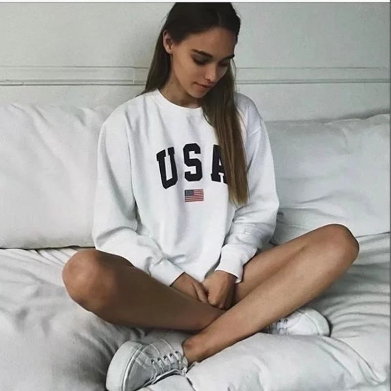 USA Letter print New women fashion Long Sleeve Hoodie Sweatshirt Harajuku Jumper Hooded Pullover Tops Casual Loose White Coat(China)