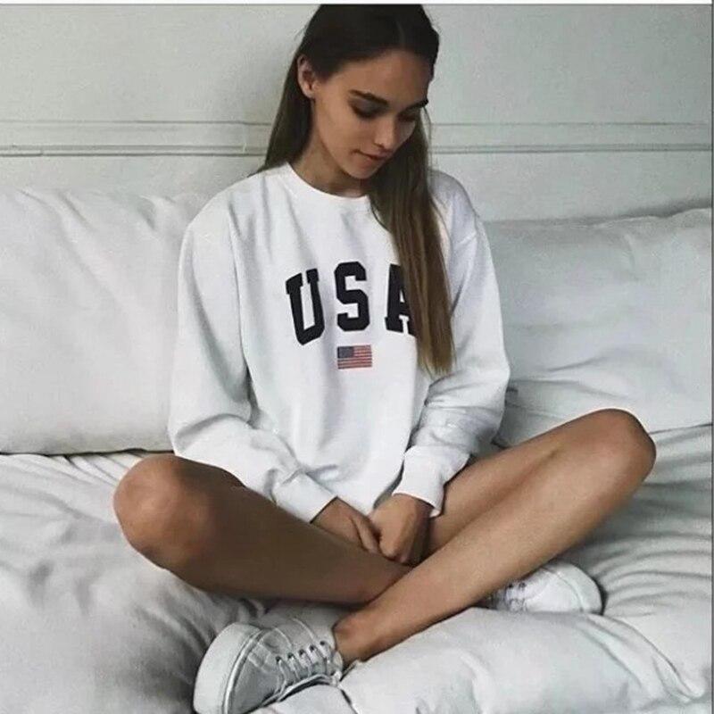 USA Brief drucken Neue frauen mode Lange Hülse Hoodie Sweatshirt Harajuku Jumper Mit Kapuze Pullover Tops Beiläufige Lose Weiß Mantel