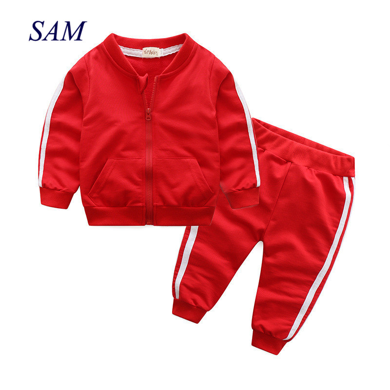 2019 autumn fashion baby girl clothes cotton long sleeve solid zipper jacket+pants 2pcs bebes tracksuit baby boy clothing set