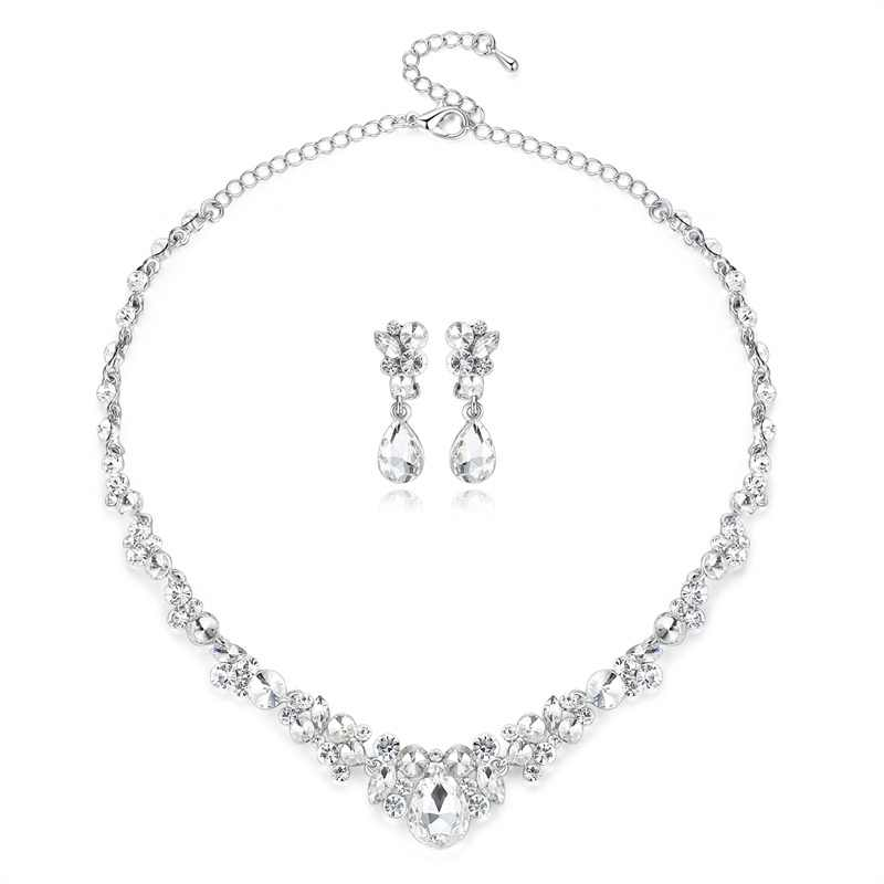 Mecresh Silver Color Rhinestone Bridal Jewelry Sets Classic Teardrop Crystal Wedding Necklace Sets European Party Jewelry MTL516