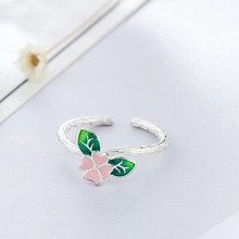New Arrival Colorful Flowers 925 Sterling Silver Jewelry Epoxy Temperament Leaf Branch Creative Gift Opening Rings  SR158