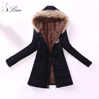 SSLine New Women Parkas Winter Casual Pockets Solid Cotton Warm Long Parka Top Womens Thicking Slim