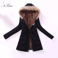 SSLine 2017 New Women Parkas Winter Casual Pocket Solid Cotton Warm Long Outwear Parka Top Womens