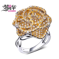 DreamCarnival 1989 Super Cute Rose Flower Rings for Women 2 Layer Hollow Deluxe CZ Two Tone Gold Color Wedding Anel das mulheres