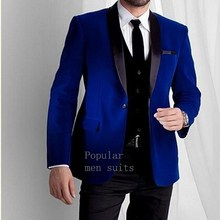 2018 Custom Made Bleu Royal Velours Mens Costume Châle Revers Costume De  Mariage pour hommes Slim Fit 3 pièces Marié Smokings de. ecebcc988cf