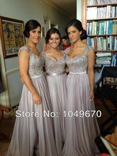 Neue 2016 Abendkleider Mit Hülsen Sheer Zurück Lace Sexy Chiffon vestidos de fiesta Lange Formale Gelegenheits Prom Kleid F & M-816
