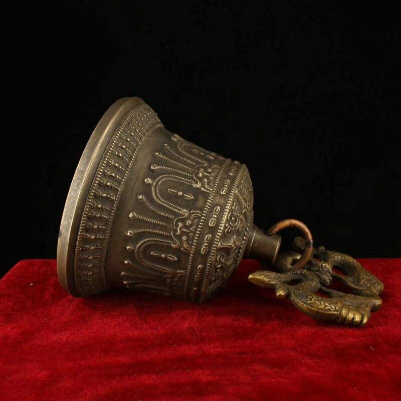 Décoration de mariage 6 recueillir Tibet bouddhisme Temple cuivre Bronze Dragon Statue suspendue cloche Chung - 5
