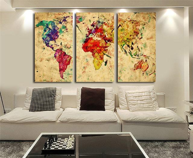 Online Shop Vintage World Watercolor Map 3 Pieces Canvas Wall Art ...
