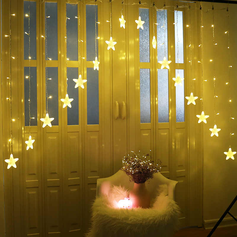 Waterproof Warm White LED Stars Fairy Light String Lights Lamp for Christmas Halloween Party Home Curtain Bedroom Decoration