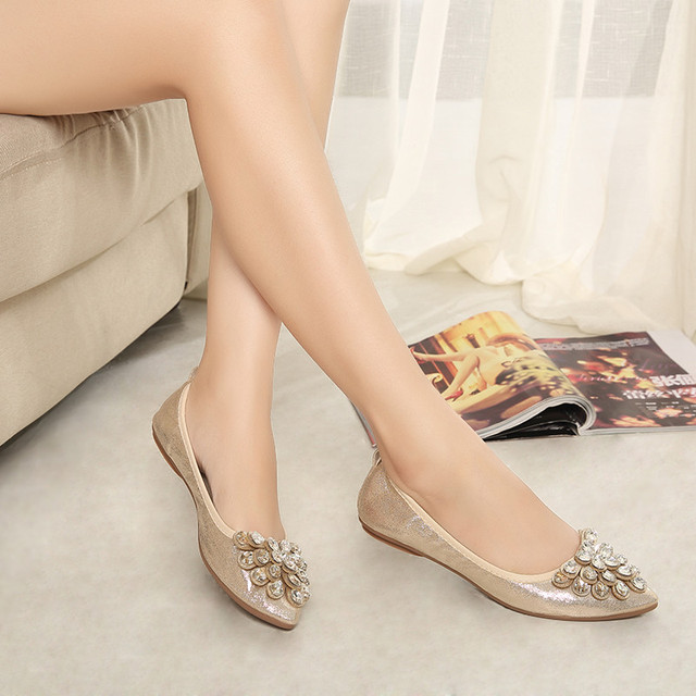 Autumn 2016 rolls women's shoes plus size maternity rhinestone soft outsole shallow mouth pointed Moccasins female toe