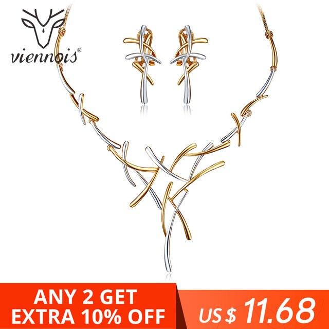 Viennois שרשרת עגילי קובע לשמלת כלה, השושבינות, כלות, מסיבת או לנשף עלה זהב & אקדח צבע 2019