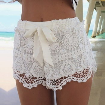 Lace Beach Shorts with Tiered Elastic Waist 1