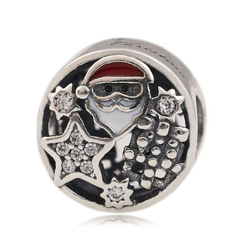 New Trendy 925 Sterling Silver Bead Santa Charm Fit Original Pandora Bracelet Bangles for Women DIY Europe Jewelry Chrismas Gift