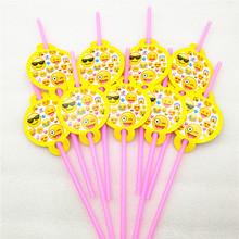 10pcs/lot Emoji Smile Cry Party Supplies Kids Birthday party decoration drinking straws baby shower Decoration favors
