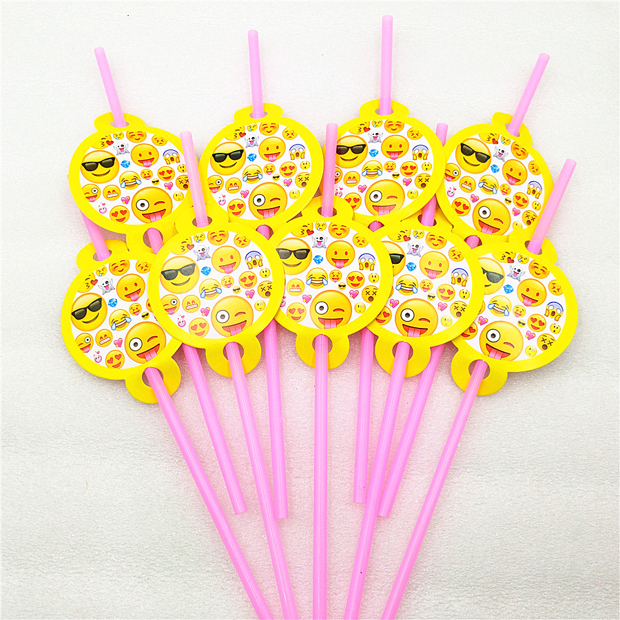 10pcs/lot Emoji Smile Cry Party Supplies Kids Birthday party decoration drinking straws  ...