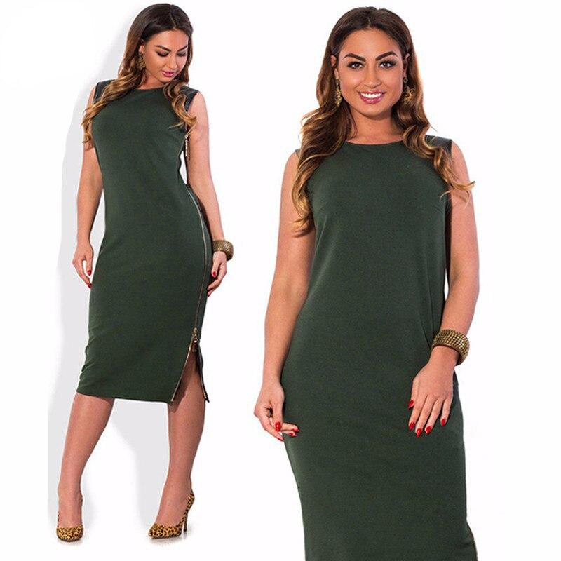 Women Dress Plus Size 6xl Long Zipper Sleeveless O Neck Soft Split Patchwork Sexy Dresses Work Formal Elegent Maxi Dress Autumn