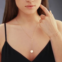 Long Necklace Handmade Coin Jewelry Custom Choker Gold Filled 16mm Pendants Collier Femme Kolye Jewelry for Women
