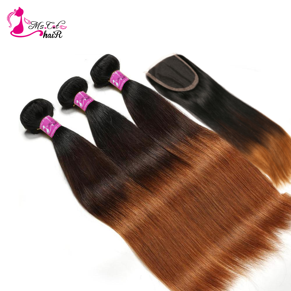 Ombre Brazilian Straight Human Hair Bundles With Lace Closure 1B 4 30 Blonde Remy Human Hair