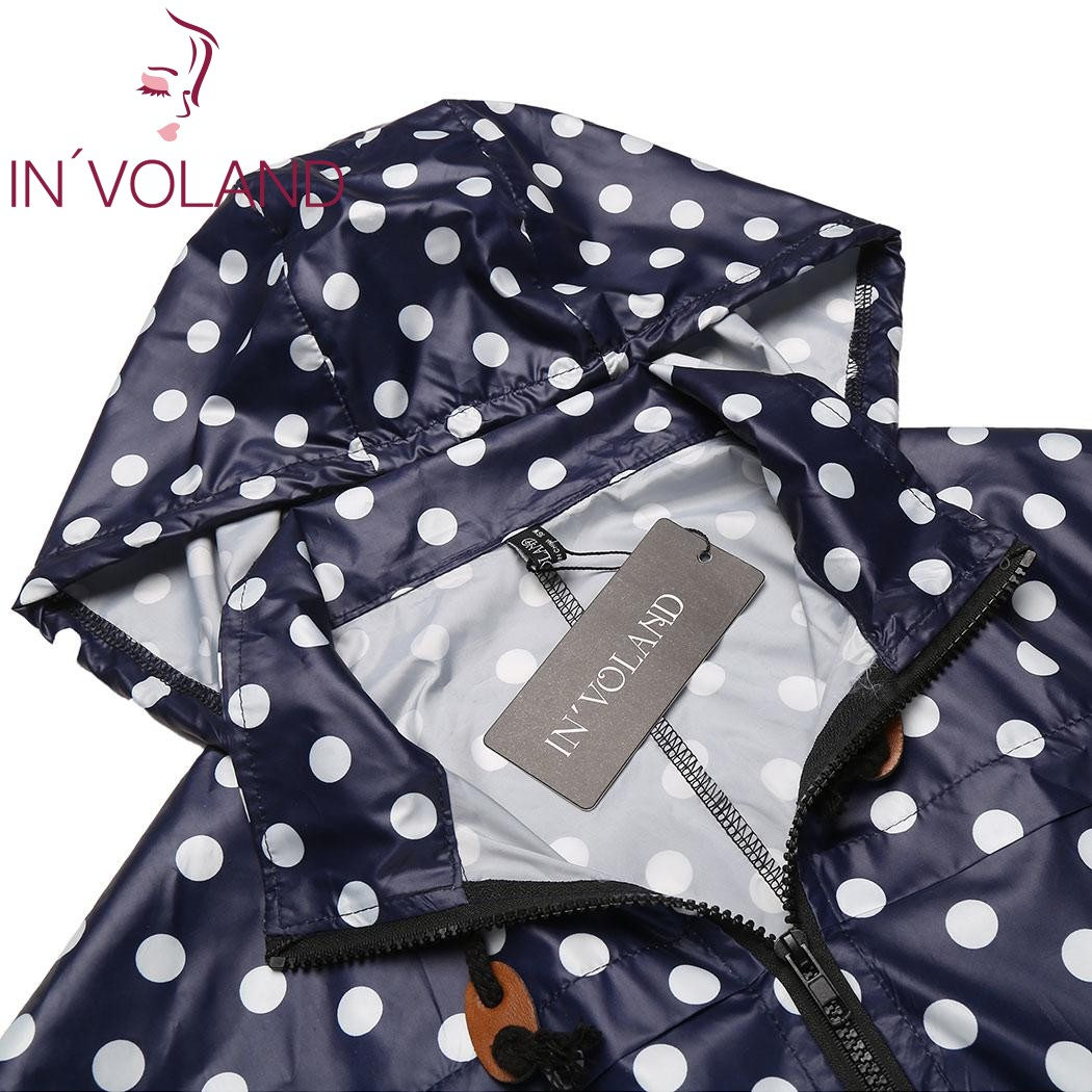 IN'VOLAND Women Hooded Hoodie Jacket Plus Size XL-5XL Spring Autumn Long Sleeve Dot Drawstring Sweatshirt Raincoat Coat Big Size 4