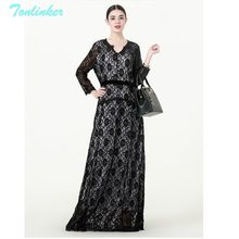 f6bd9850ae440 Tonlinker 2018 Fashion Lace Print Muslim Women Dress Solid Middle East Long  Robe Gowns Dubai Arab Islamic Clothing Black Dress
