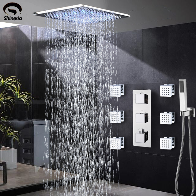 Shinesia Chrome Thermostatic Shower Faucets Set Rain Waterfall Shower Massage Jets 3 way Thermostatic Mixer Tap Bath Shower Set-in Shower Faucets from Home Improvement    1