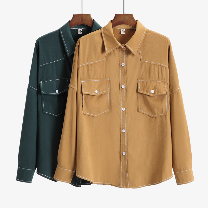 Women's Oversized Shirts 2019 Spring Summer Designers Latest Fashion Design Two Big Pockets Solid Colour Casual Shirts XL 4XL