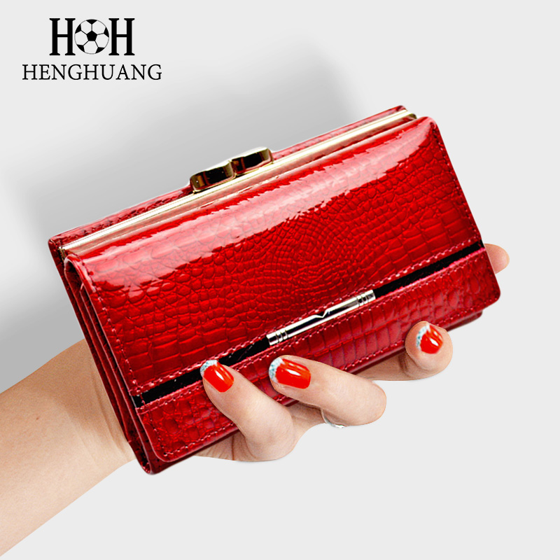 HH Women's Wallet And Purse Genuine Leather Lady's Wallets Small Short  Clutch Coin Purse Luxury Female Luxury Purses