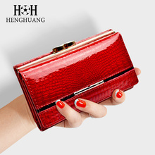 HH Womens Wallet and Purse Genuine Leather Ladys Wallets Small Short  Clutch Coin Luxury Female Purses