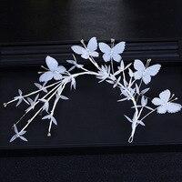 Coreano doce Mori noiva cocar acessórios do cabelo do casamento Borboleta fio guirlanda de Cristal fotos de estúdio Cabeça