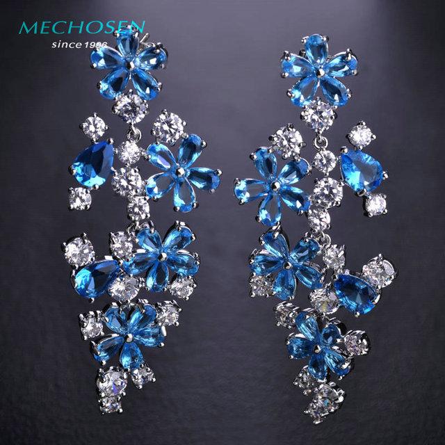 Mechosen requintado floco de neve grande queda brincos de zircônia luxo platinadas dangle aretes para o casamento mulheres jóias orecchini