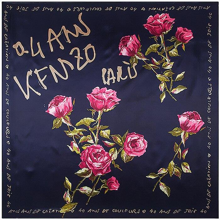 KEN Lettres Roses Écharpe Soie Sentiment 90 cm Foulards Match de Vêtements Accessoire  Femme Fille Ajouter Vêtements Cadeau 90FJ50 9205ec4d9d5