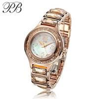 PB принцесса бабочка роскошные женские часы браслет OEM позолоченные и Кристальные водонепроницаемые кварцевые женские часы HL591