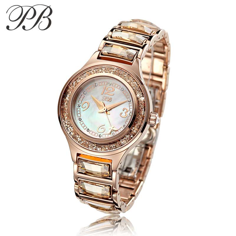 Top Brand PB Fashion Watches Women 2017 Water Proof Bracelet OEM Watch Gold plated Ladies Watch With Crystal HL591 Dimond oem 2015 j 60cmhm385 gold watches