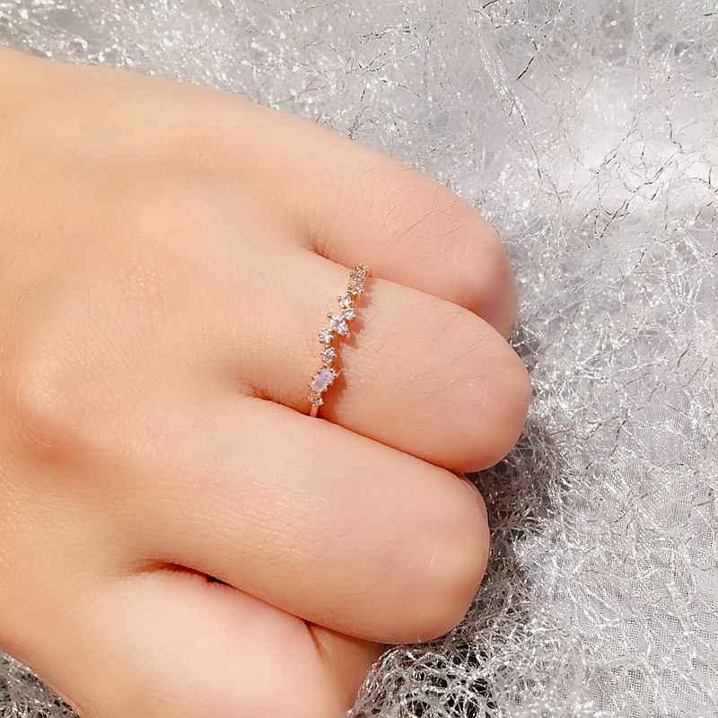 Bague en cristal irrégulier pierre Rose de haute qualité pour femmes couleur or Rose Zircon cubique Bague bijoux