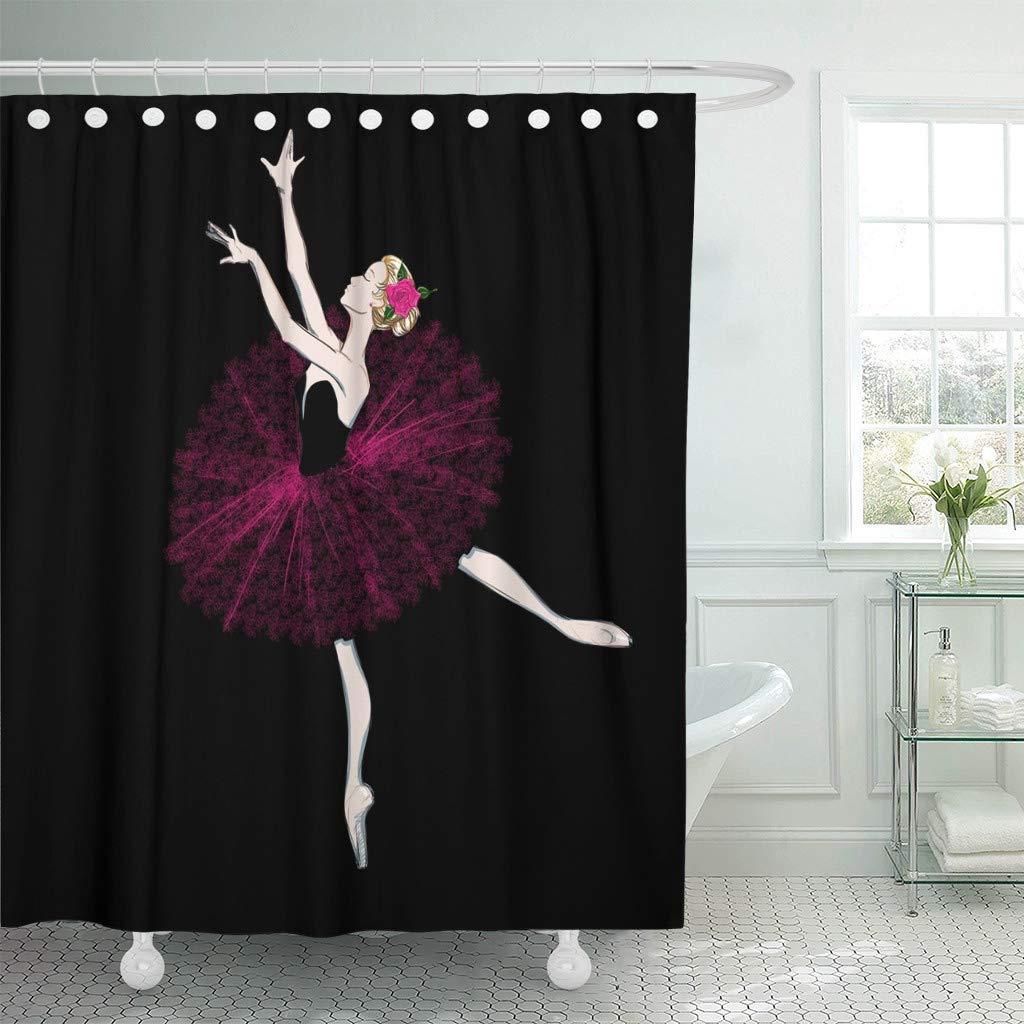 Fabric Shower Curtain Hooks Free Hand Drawing Ballerina Ballet