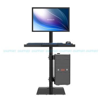 W841 Full Rotation Free Lifting Floor Stand 10-27 inch Monitor Keyboard Tray Holder Monitor Stand With Computer Host Holder