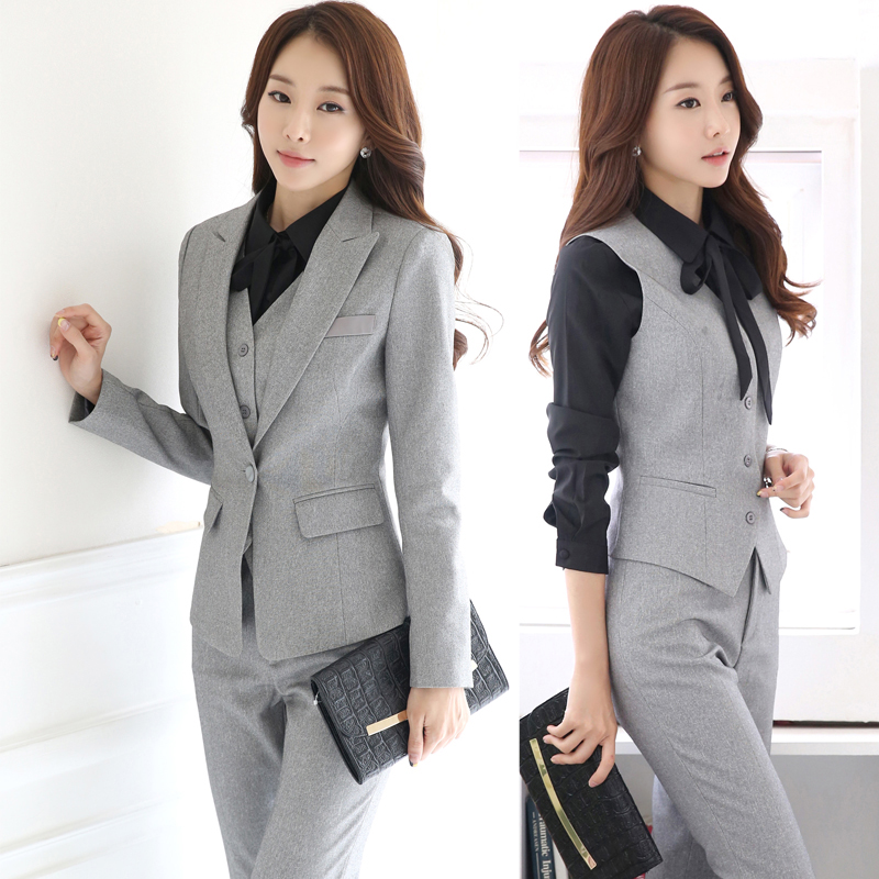 Spring Autumn Women Interview Formal Work Office Long Sleeve Pant Suits OL Slim One Button Vest Business Suit