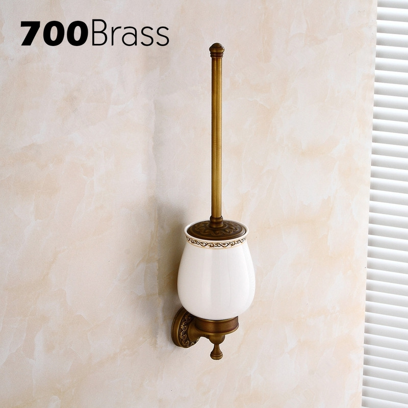 Wholesale And Retail Antique Brass Toilet Brush Holders With Ceramic Cup Wall Mounted Durable Toilet Brush Bathroom Accessories high end carving wall mounted toilet cleaning brush brass toilet brush holder free shipping wholesale and retail fe 8610