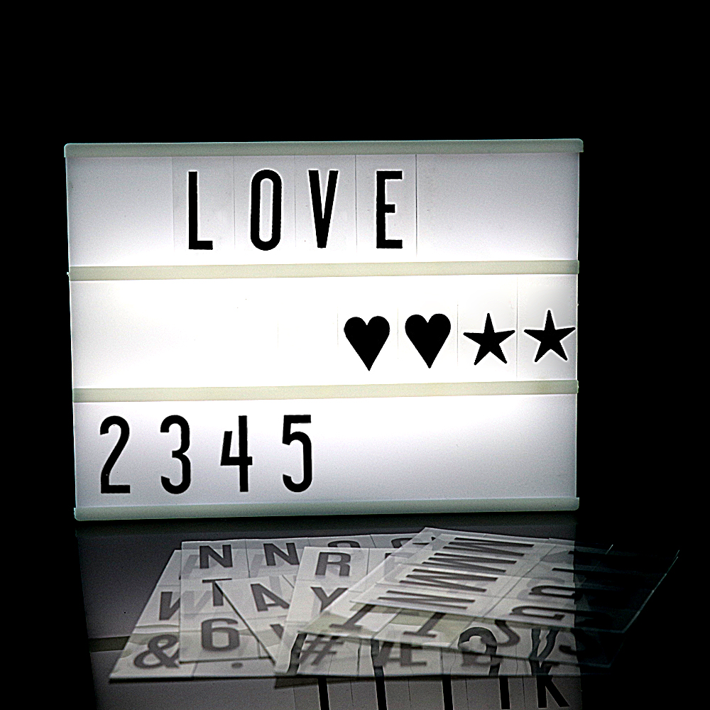 2018 Premuim A4 Size LED Combination Light Box Night Lamp DIY BLACK Letters Cards USB PORT Powered Cinema Lightbox diy cinematic lightbox led night light box modern table desk lamp a4 size letters number battery usb powered home decor iy303206 page 5